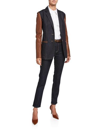 Rozella Prestige Denim 11 Oz Jacket with Leather Combo and Matching Items