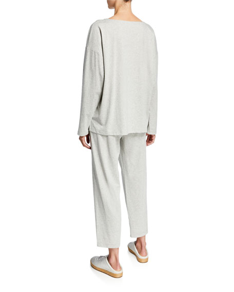 Eileen Fisher Speckle Knit Jewel-Neck Long-Sleeve Box Top