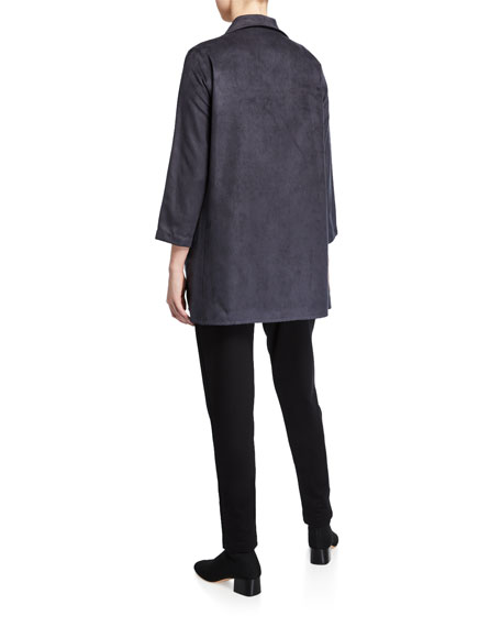 Caroline Rose Modern Faux-Suede Button-Front City Jacket