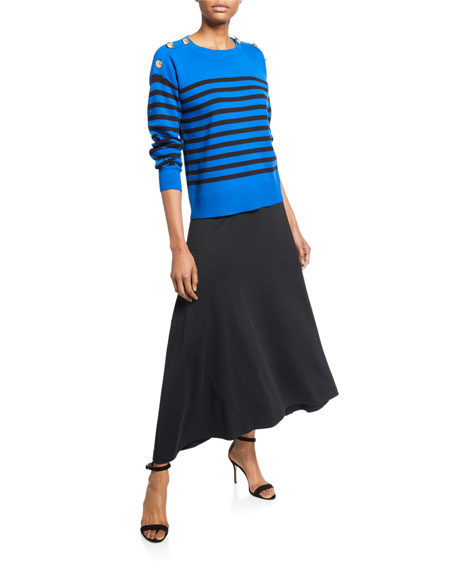 Joan Vass Striped Cotton Sweater with Button Details