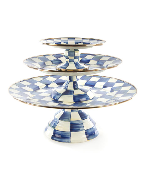 MacKenzie-Childs Royal Check Pedestal Mini Platter