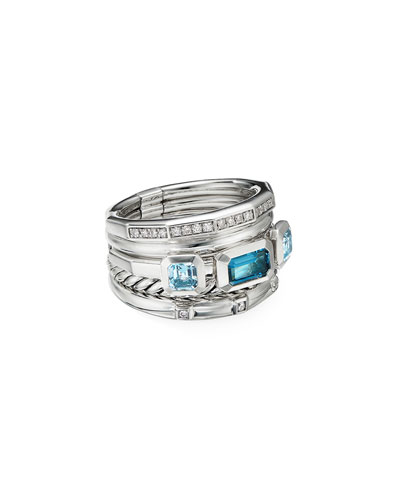 Stax Wide Blue Topaz & Diamond Ring and Matching Items