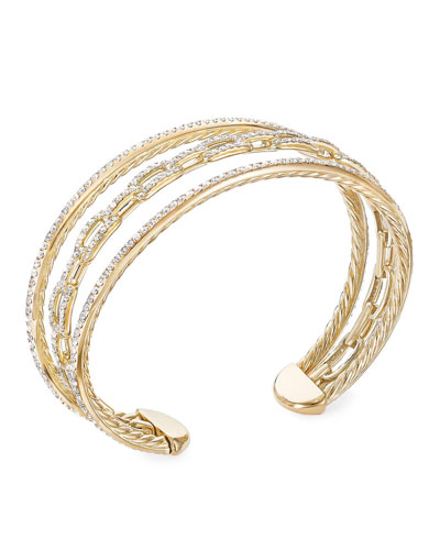 Stax 18k Yellow Gold Diamond 3-Row Bracelet  Size M and Matching Items