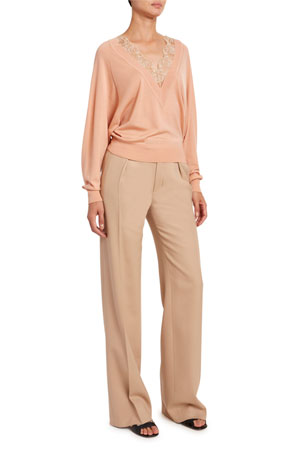 Chloe Lace V-Neck Wool-Silk Sweater Stretch Wool Satin Pants