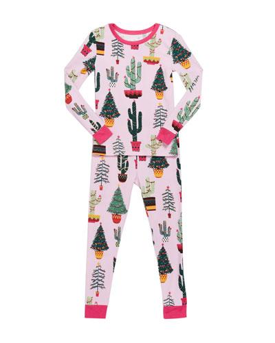 Girl's Christmas Cactus-Print Pajama Set  Size 2-8  and Matching Items