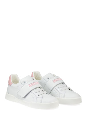 Dolce & Gabbana Grip-Strap Two-Tone Leather Logo Sneakers, Toddler/Kids Grip-Strap Two-Tone Leather Logo Sneakers, Toddler