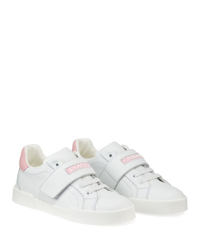 Grip-Strap Two-Tone Leather Logo Sneakers  Toddler/Kids and Matching Items