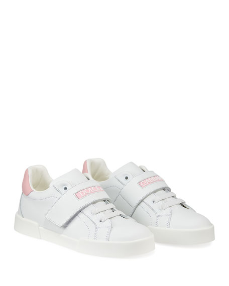 Dolce & Gabbana Grip-Strap Two-Tone Leather Logo Sneakers, Toddler/Kids