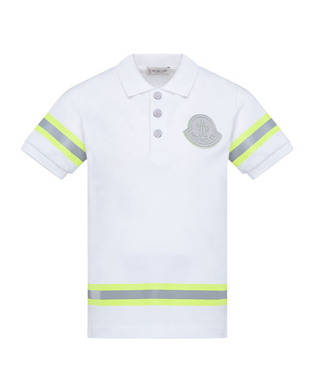 Moncler Boy's Maglia Polo Shirt w/ Reflective Tape, Size 4-6