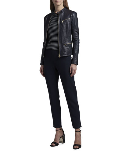 Leather Zip-Front Jacket and Matching Items