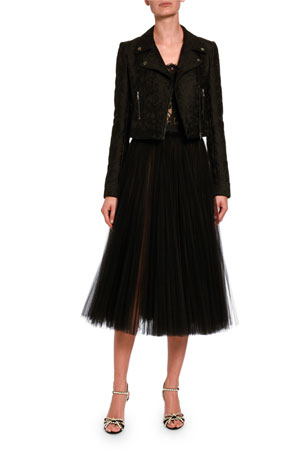 Dolce & Gabbana Lace Bustier Top Pleated Tulle Midi Skirt