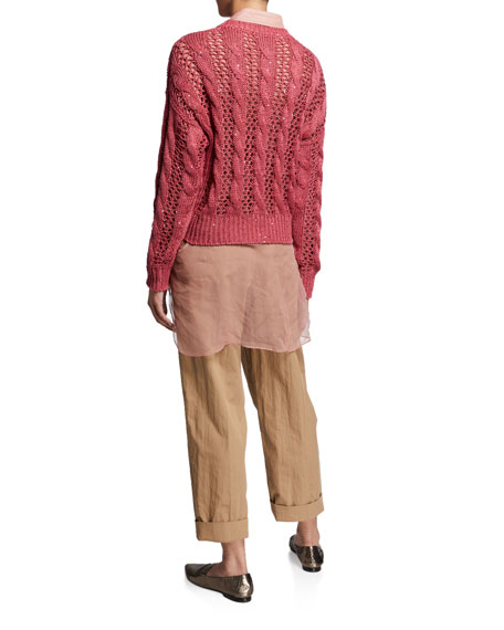 Brunello Cucinelli Open Weave Cable-Knit Sweater