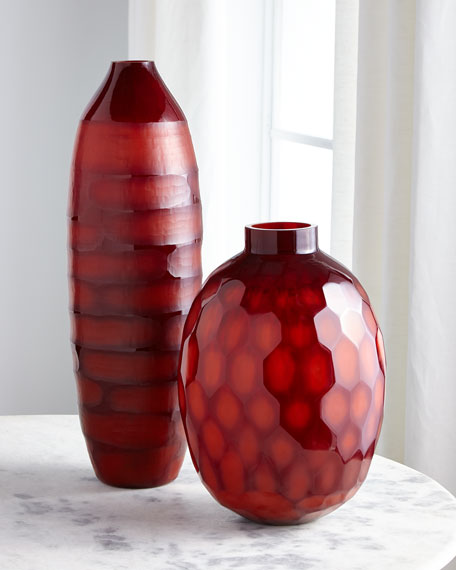 John-Richard Collection Ruby Red Etched Glass Vase I