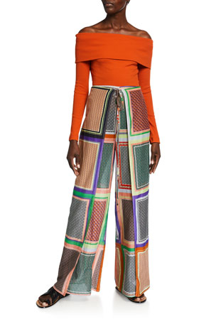 Rosetta Getty Off-the-Shoulder Cotton T-Shirt Scarf-Print Crepe Apron-Wrapped Pants