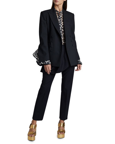 Wool Double-Breasted Open-Cuff Blazer and Matching Items