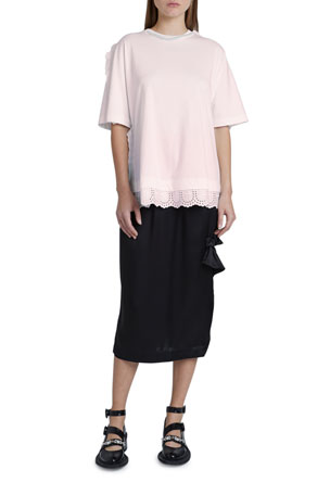 Simone Rocha Cotton Jersey Short-Sleeve Beaded-Neck Frill-Hem Top Satin Side-Frill Midi Skirt