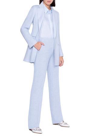 Akris Linen-Wool Jacket Carl Linen-Wool Straight-Leg Pants