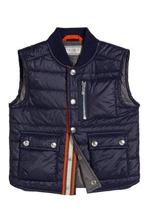 Brunello Cucinelli Boy's Quilted Nylon Vest, Size 8-10 Boy's Quilted Nylon Vest, Size 4-6