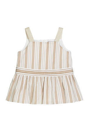 Brunello Cucinelli Girl's Striped Sleeveless Ruffle Top, Size 12-14 Girl's Striped Sleeveless Ruffle Top, Size 8-10 Girl's Striped Sleeveless Ruffle Top, Size 4-6