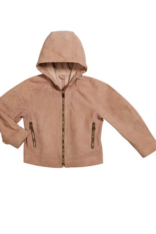 Brunello Cucinelli Girl's Hooded Suede Jacket, Size 12-14 Girl's Hooded Suede Jacket, Size 8-10