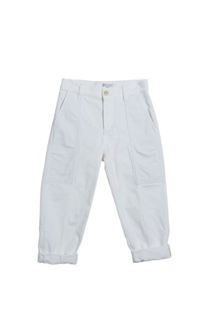 Brunello Cucinelli Girl's Garment Dyed Carpenter Pants, Size 4-6 Girl's Garment Dyed Carpenter Pants, Size 8-10