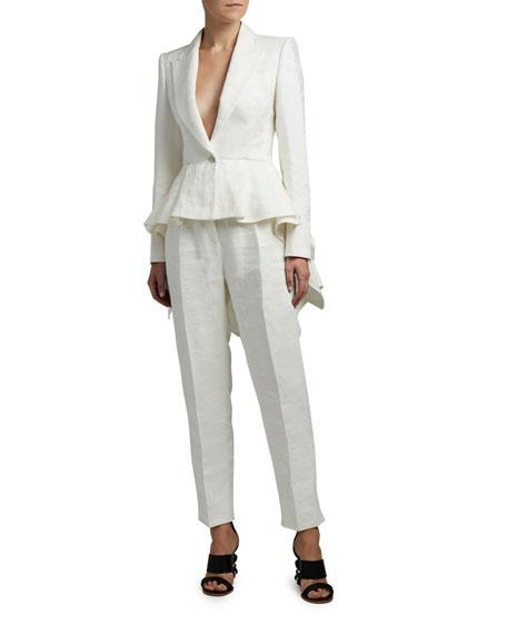 Alexander McQueen Linen Flared Blazer Jacket
