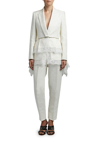 Alexander McQueen Floral Jacquard Jacket with Lace Trim Linen High-Rise Peg Trousers