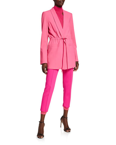 Kylie Easy Shawl-Collar Jacket with Drawstring Waist and Matching Items