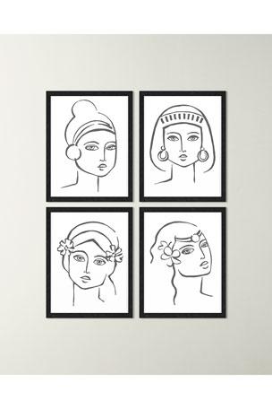 "Paragon Decors ""Black & White Boho Portrait III"" Art Print ""Black & White Boho Portrait IV"" Art Print"
