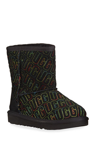 UGG Girl's Classic II Logo Stitch Graphic Short Boots, Kids Girl's Classic II Logo Stitch Graphic Short Boots, Baby/Toddler