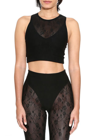 Adam Selman Sport Rose Mesh Racer Crop Top