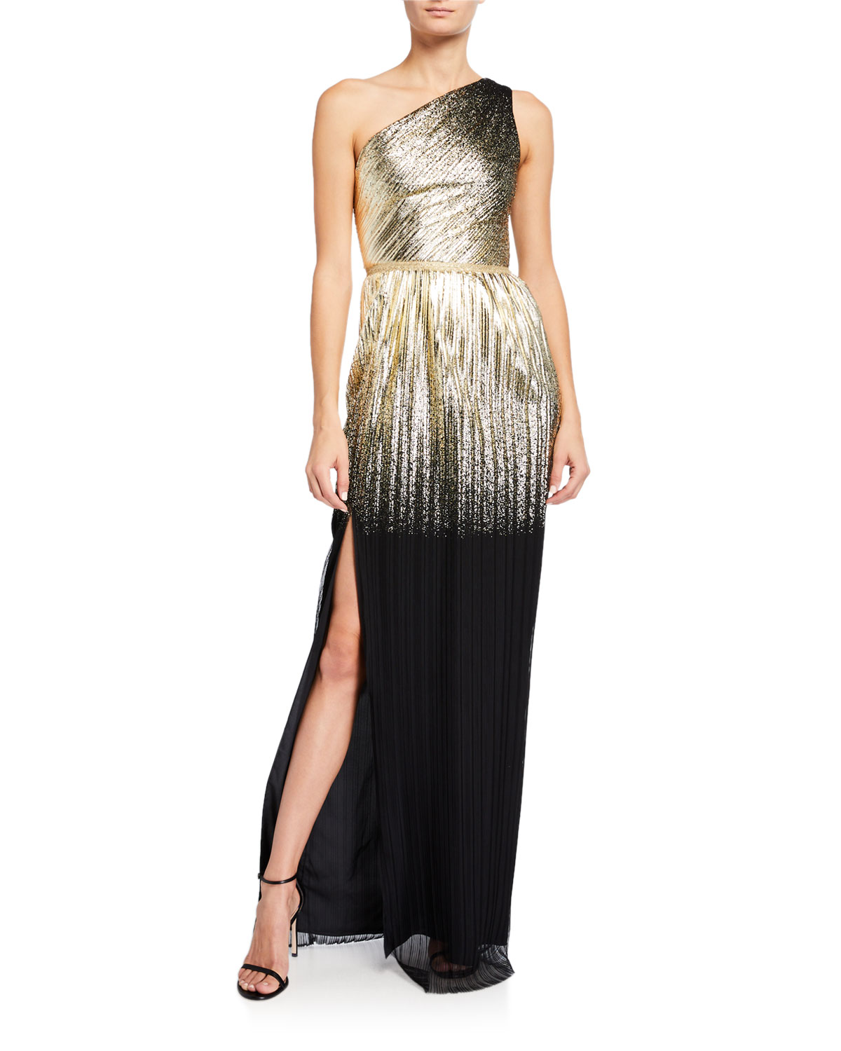 Marchesa Notte One-Shoulder Pleated Foil Degrade Gown w/ High Slit
