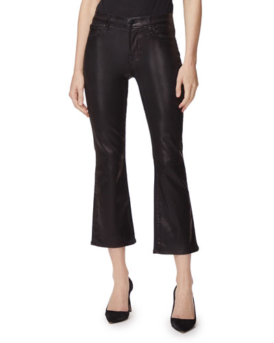 Selena Mid-Rise Cropped Sateen Boot-Cut Jeans