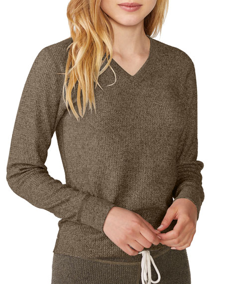 Monrow Brushed Thermal V-Neck Long-Sleeve Top