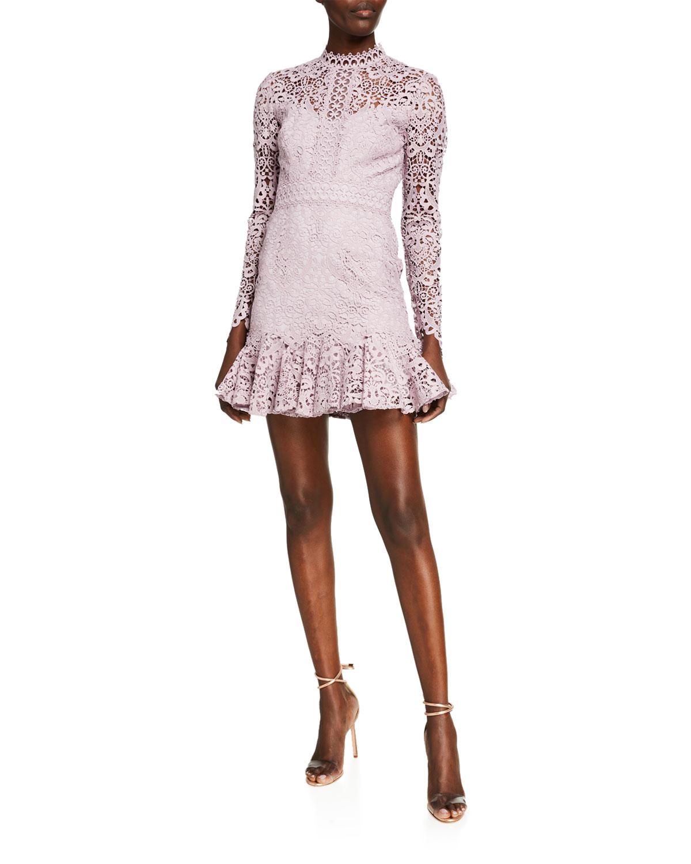 Ever New Long-Sleeve Mini Lace Flounce-Hem Dress