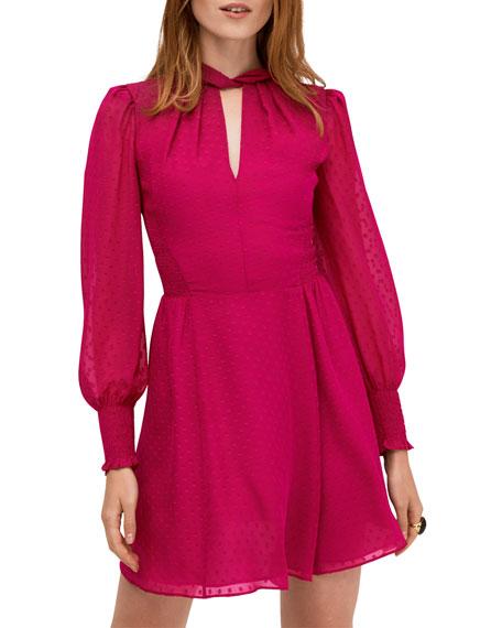 kate spade new york clip dot smocked bishop-sleeve mini dress