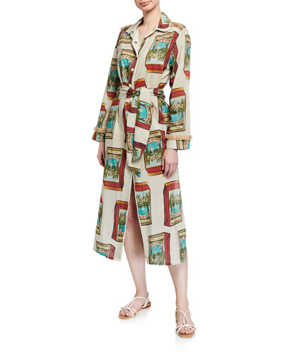Printed Button-Front Coverup