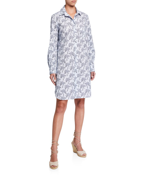 Image 1 of 3: Finley Plus Size Alex Desert Palm Button-Front Shirtdress w/ Convertible Sleeves