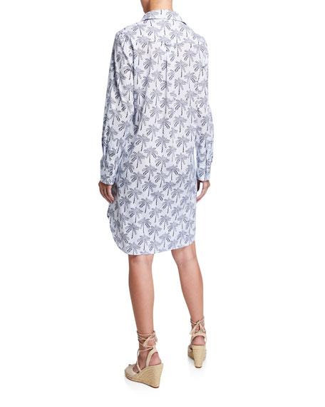 Finley Petite Alex Desert Palm Button-Front Shirtdress w/ Convertible Sleeves