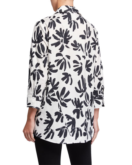 Image 3 of 3: Finley Thatched Floral Button-Down Trapeze Blouse