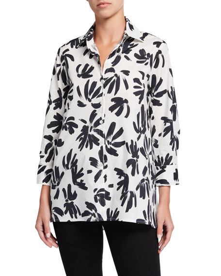Image 1 of 3: Finley Thatched Floral Button-Down Trapeze Blouse