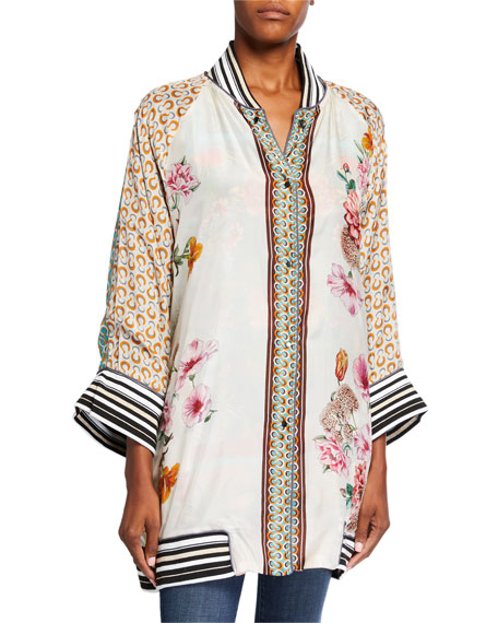 Image 3 of 4: Johnny Was Plus Size Tropical Reversible Button-Front Kimono