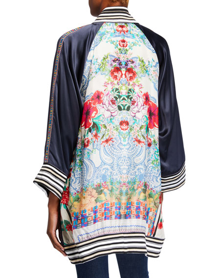Image 4 of 4: Johnny Was Plus Size Tropical Reversible Button-Front Kimono