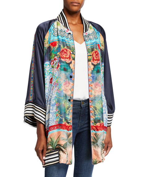 Image 1 of 4: Johnny Was Plus Size Tropical Reversible Button-Front Kimono