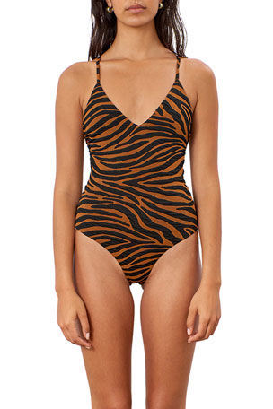 Mara Hoffman Emma Tiger Stripe Cross-Back One-Piece Swimsuit