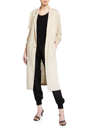Majestic Filatures Linen Duster Double-Breasted Coat