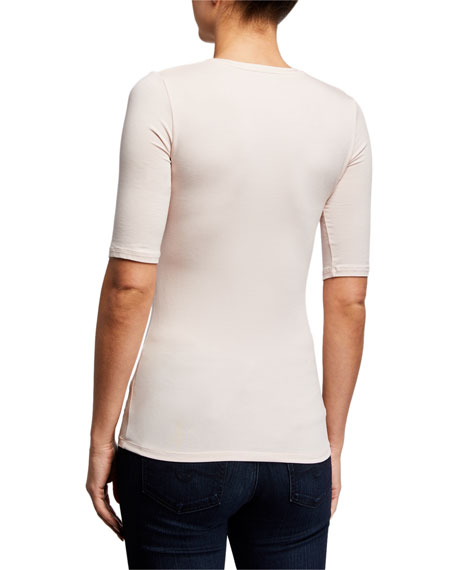 Image 3 of 3: Majestic Filatures Scoop-Neck Elbow-Sleeve Soft Touch Tee