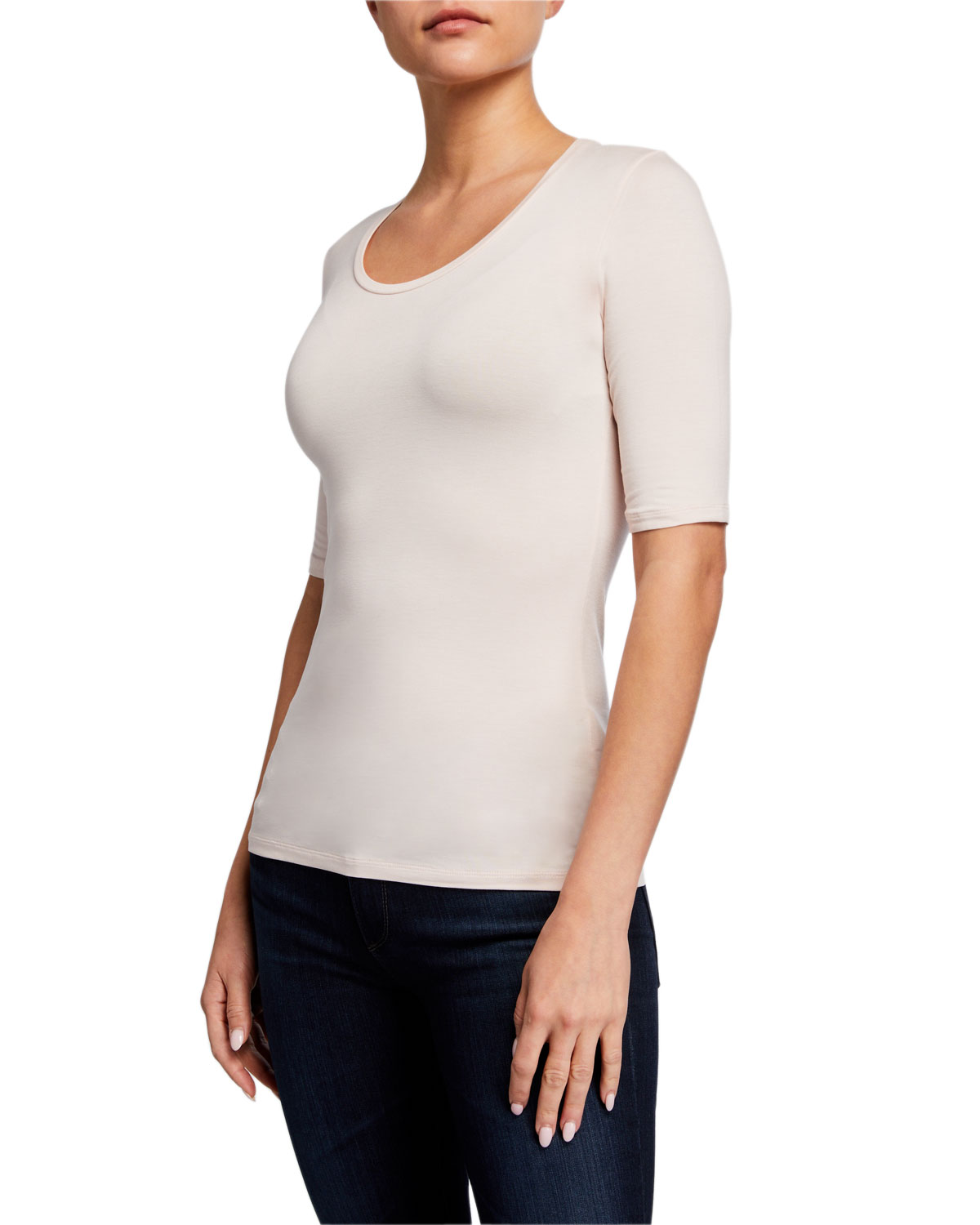 Majestic Filatures Scoop-Neck Elbow-Sleeve Soft Touch Tee