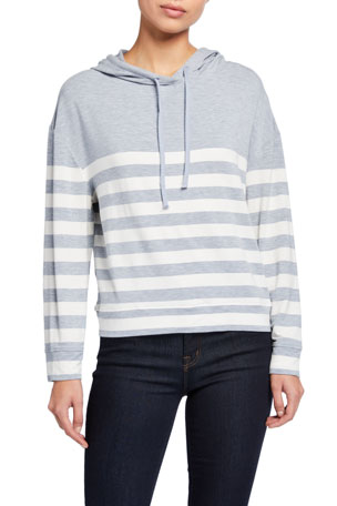 Majestic Filatures Striped Long-Sleeve Pullover Hoodie