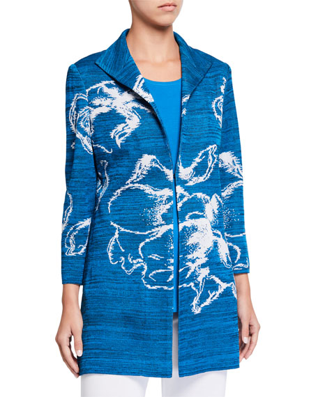 Image 3 of 4: Misook Plus Size Long Floral Space Dye Jacket